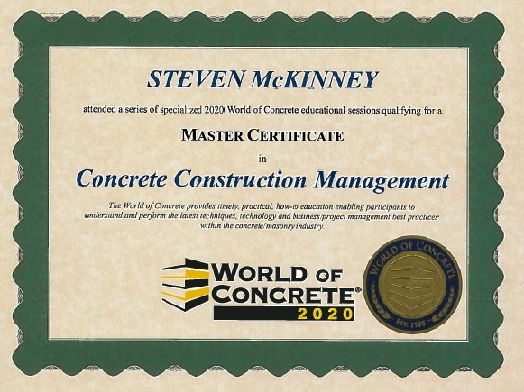 Continuing education approvals world of concrete master certificate xflitez Images